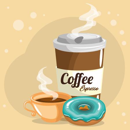 delicious coffee plastic pot and donut vector illustration design Vettoriali