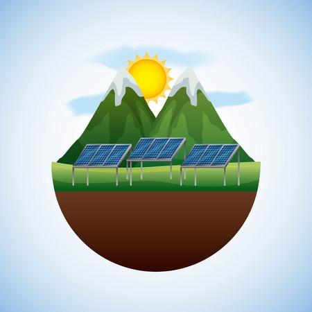 エネルギータイプ - 風景ナチュラルとパネルソーラーベクトルイラスト  イラスト・ベクター素材