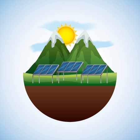 energy types - landscape natural and panel solar vector illustration Stock Illustratie