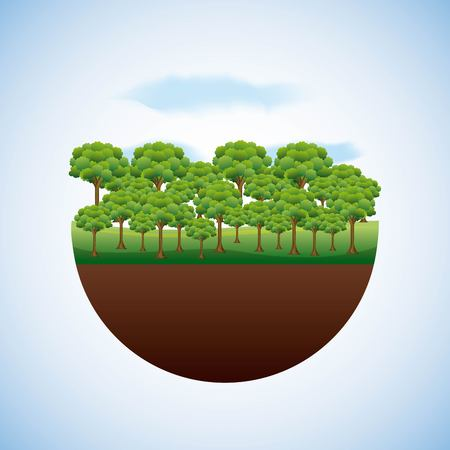 energy types - landscape natural and forest trees environment vector illustration