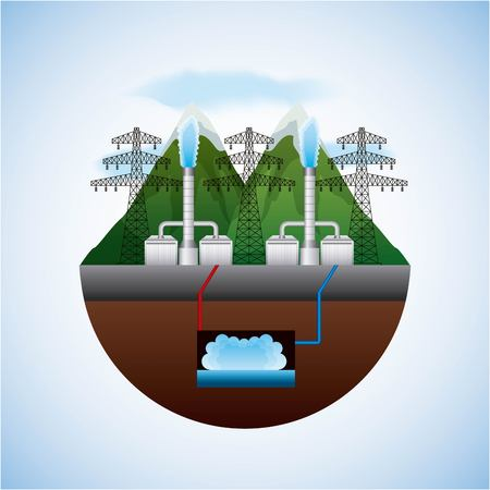 energy types - landscape natural and electric towers geothermal plants vector illustration