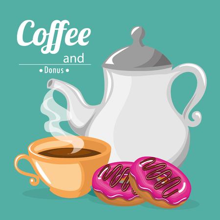 delicious coffee in teapot and donuts vector illustration design Standard-Bild - 96901247