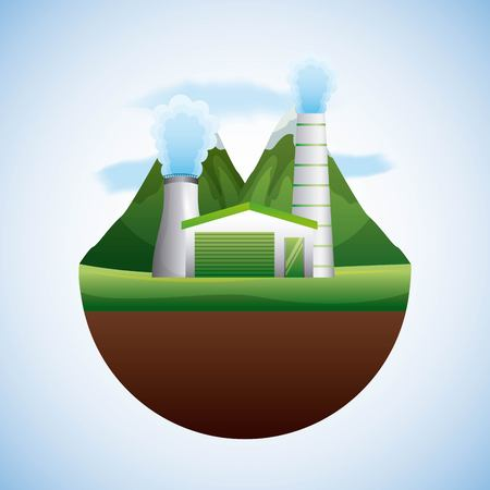 energy types - landscape natural and reactor nuclear vector illustration
