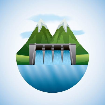 energy types - landscape natural and hydroelectric dam vector illustration