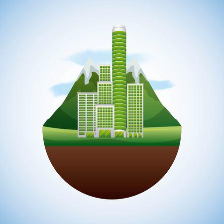 Green building landscape illustration