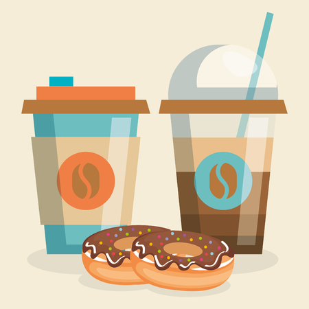 delicious coffee plastic pot and donut vector illustration design Illustration