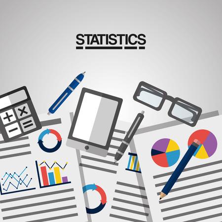 statistics information calculator glasses and ballpoint pen vector illustration