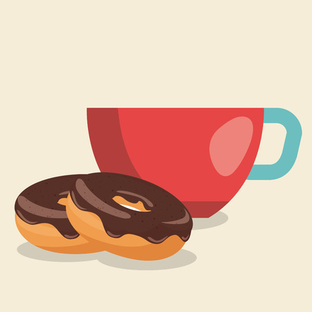 delicious coffee cup and donuts vector illustration design