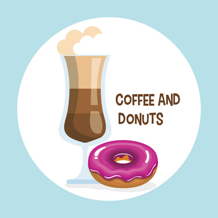 delicious iced coffee cup and donuts vector illustration design Stock Vector - 96901178