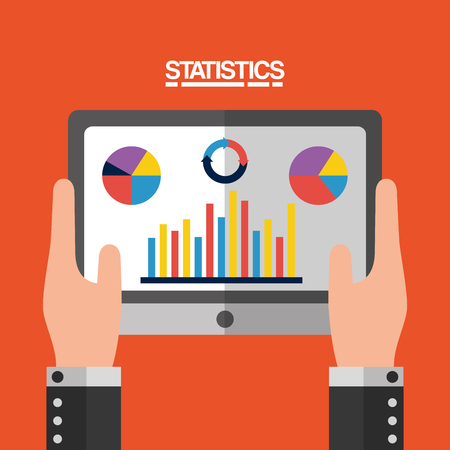 hand holding tablet computer with statistics vector illustration