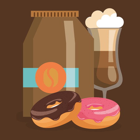delicious iced coffee cup and donuts vector illustration design Ilustração