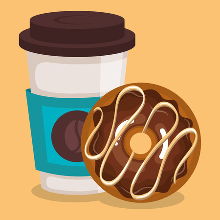 delicious coffee plastic pot and donut vector illustration design Ilustrace