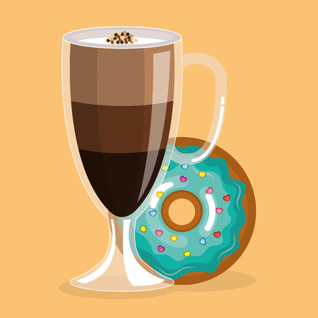 delicious iced coffee cup and donuts vector illustration design Standard-Bild - 96901231