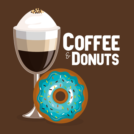 delicious iced coffee cup and donuts vector illustration design Standard-Bild - 96901244