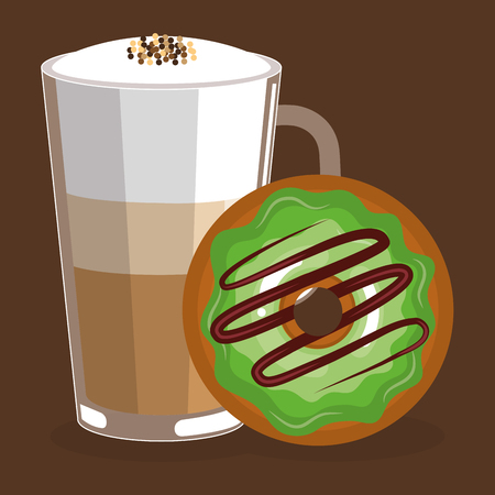delicious iced coffee cup and donuts vector illustration design Çizim