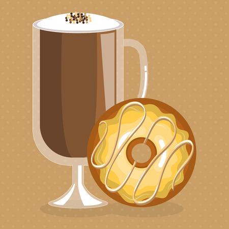 おいしいアイスコーヒーカップとドーナツベクターイラストデザイン