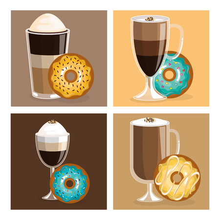 coffee and donuts set icons vector illustration design Illustration