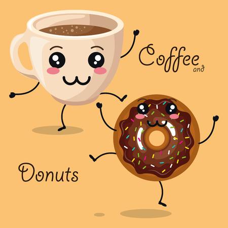 おいしいコーヒーカップとドーナツキャラクターベクターイラストデザイン  イラスト・ベクター素材