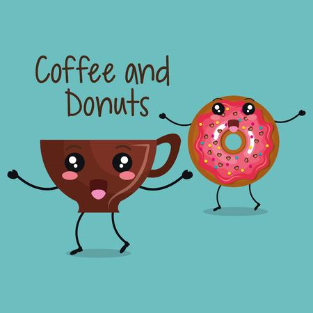 heerlijk koffiekopje en donuts karakter vector illustratie ontwerp