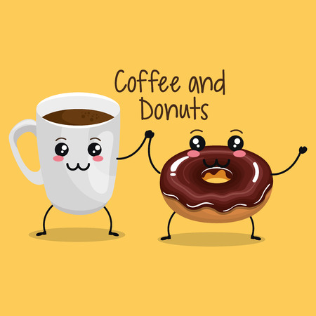 delicious coffee cup and donuts  character vector illustration design