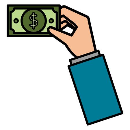 hand with bill dollar money icon vector illustration design