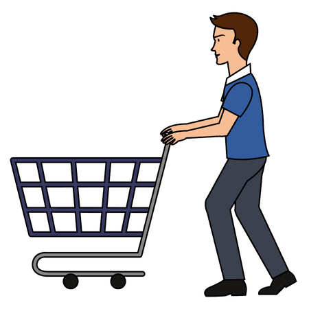 young man with shopping cart vector illustration design Illustration