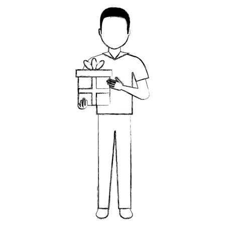 young man with gift vector illustration design Illustration