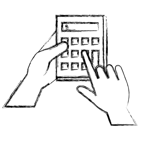 hand user with calculator device isolated icon vector illustration design 矢量图像