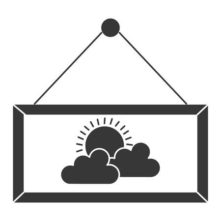 label hanging with cloud isolated icon vector illustration design Çizim