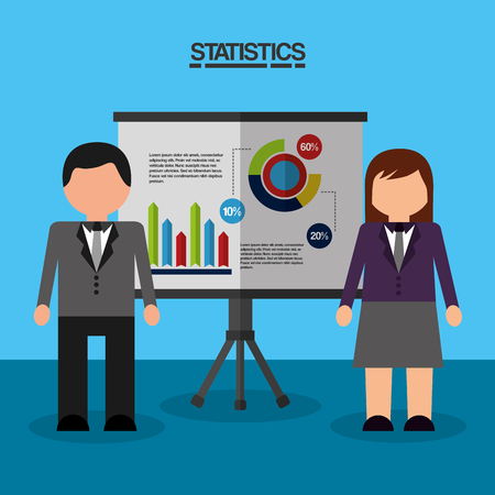 businesspeople working board presentation diagrams charts statistics data vector illustration Illustration