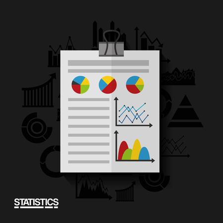 Report document, business and statistics data vector illustration Ilustração