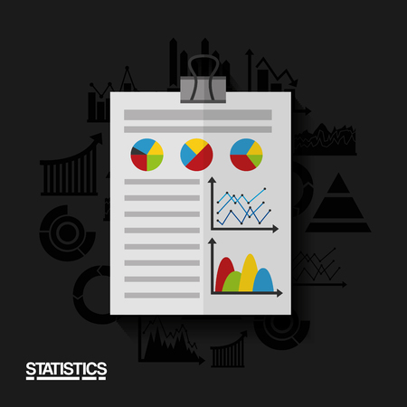 Report document, business and statistics data vector illustration Illustration