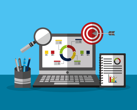 Financial analysis on laptop with chart and magnifying glass business vector illustration