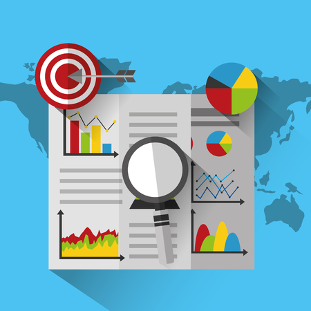 financial report magnifier glass target strategy on world map statistics data vector illustration 일러스트