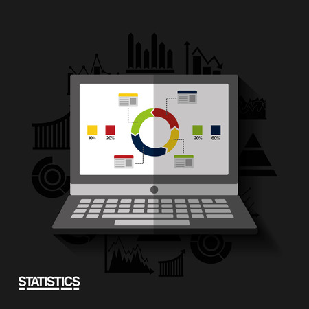 statistics data on display laptop device business vector illustration Banque d'images - 96945010