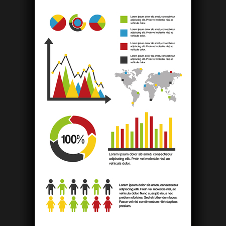 infographics set information graphics demographic percentage world statistics data vector illustration
