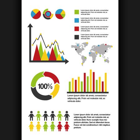 infographics instellen informatie grafische demografische percentage wereld statistieken gegevens vector illustratie