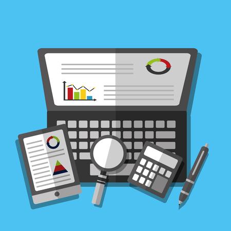 statistics data laptop mobile calculator magnifier glass vector illustration