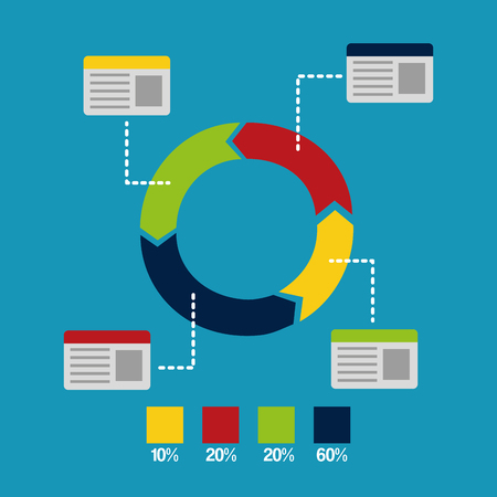 pie chart infographic bar statistic workflow diagram vector illustration