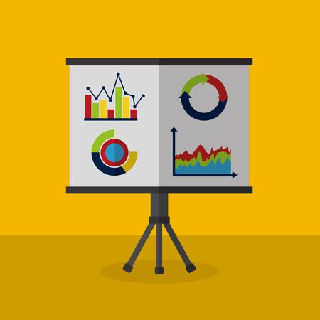 business presentation chart with growing market data statistics vector illustration Çizim