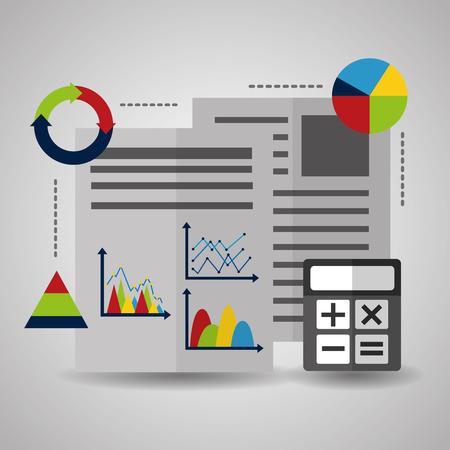 Résumé de papier de données statistiques avec des graphiques et des graphiques calculatrice vector illustration
