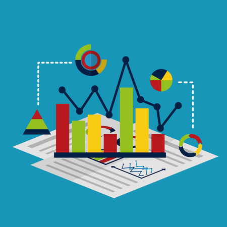 business report isometric management document diagram statistic vector illustration