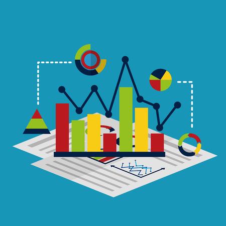 business report isometric management document diagram statistic vector illustration