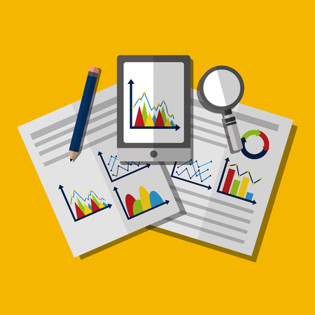 business mobile search strategy project financial report success statistics vector illustration