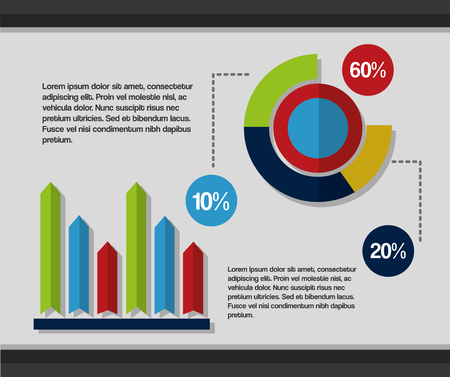 business pie chart document report presentations and material statistics vector illustration