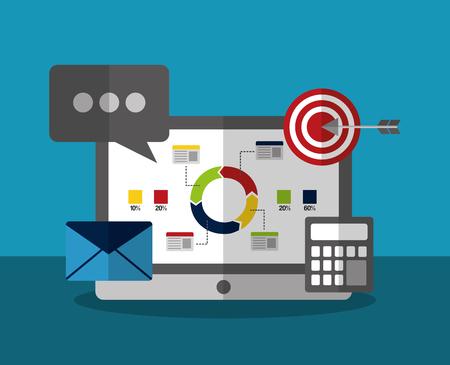 computer email marketing analysis business statistics data concept vector illustration Illustration