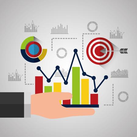 hand holing increasing bar chart business statistics analysis vector illustration