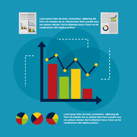 infographic diagram with point chart and bar statistics data business vector illustration