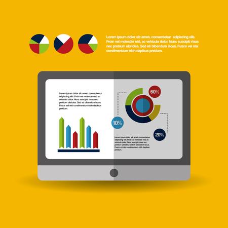 tablet computer web digital business work vector illustration