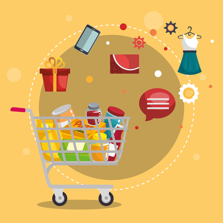 Shopping cart with marketing set icons vector illustration design. Illustration